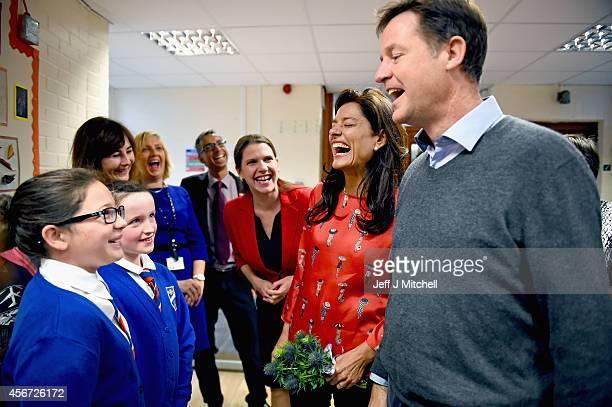 Deputy Prime Minister Nick Clegg his wife Miriam Gonzalez Durantez and Jo Swinson MP visit Castlehill Primary School on October 6 2014 in Glasgow...