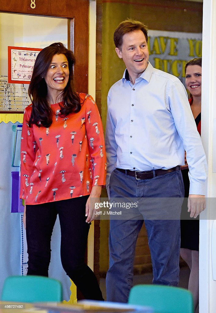 Deputy Prime Minister Nick Clegg, his wife Miriam Gonzalez Durantez and Jo Swinson MP visit Castlehill Primary School on October 6, 2014 in Glasgow, Scotland. Mr Clegg is visiting Castlehill Primary School to highlight the Liberal Democrat free school meals and childcare policies.