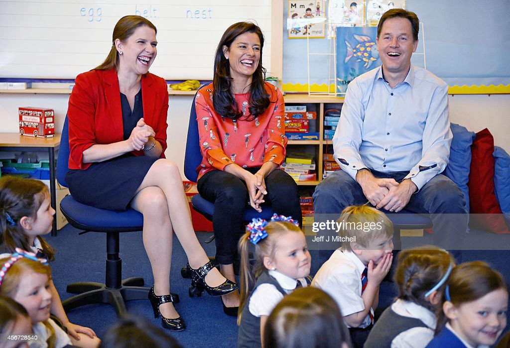 Deputy Prime Minister Nick Clegg, his wife Miriam Gonzalez Durantez (C) and Jo Swinson MP visit Castlehill Primary School on October 6, 2014 in Glasgow, Scotland. The visit to Castlehill Primary School in Glasgow to highlight the Liberal Democrat free school meals and childcare policies.