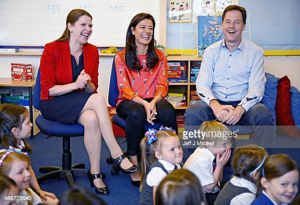 Deputy Prime Minister Nick Clegg his wife Miriam Gonzalez Durantez and Jo Swinson MP visit Castlehill Primary School on October 6 2014 in Glasgow...