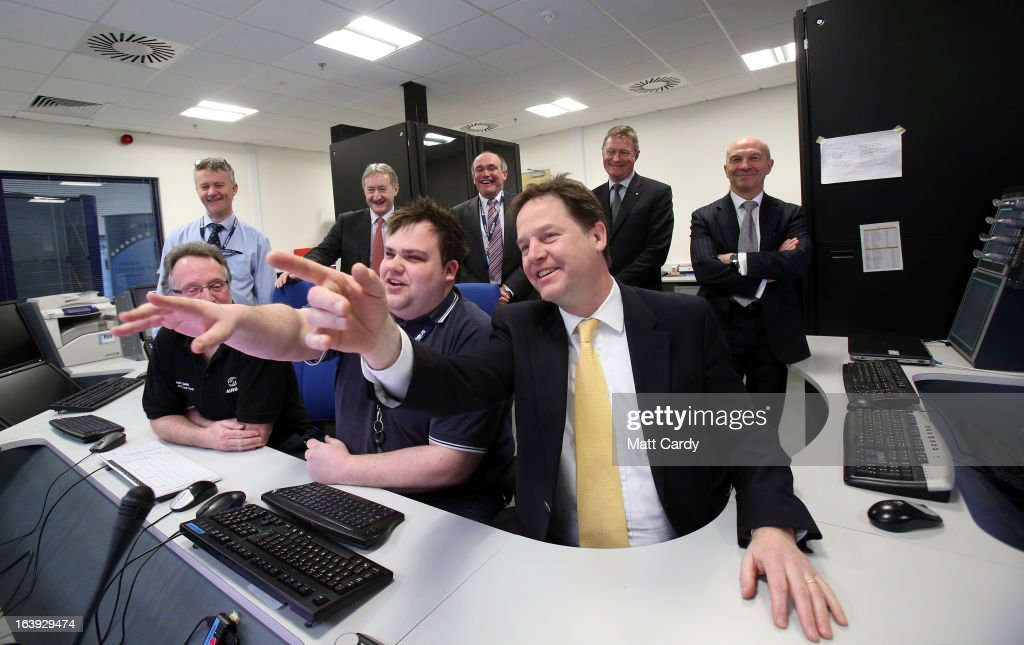 Deputy Prime Minister Nick Clegg is shown a live testing of landing gear as he meets staff working in research and development as he visits the high technology area of the Airbus site at Filton on March 18, 2013 in Bristol, England. The purpose of Deputy Prime Minister Nick Clegg's visit to Bristol was to pledge an ambitious long-term partnership with significant investment in the UK's aerospace industry. The new investment will hopefully retain the UK's position at the forefront of world aerospace manufacturing.