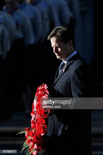 Deputy Prime Minister Nick Clegg lays a wreath on the Cenotaph during the annual Remembrance Day service on Whitehall on November 10 2013 in London...