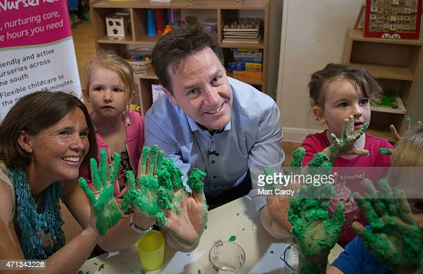 Deputy Prime Minister Nick Clegg meets children at the Tops Day Nursery in Corfe Mullen as he canvasses with Liberal Democrat candidate for Mid...