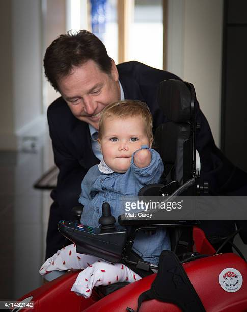 Deputy Prime Minister Nick Clegg meets quadruple amputee Harmonie Rosie to show support for the family's campaign to make the meningitis B vaccine...