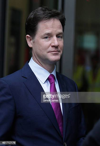 Deputy Prime Minister Nick Clegg sighted leaving the BBC studios on January 18 2015 in London England