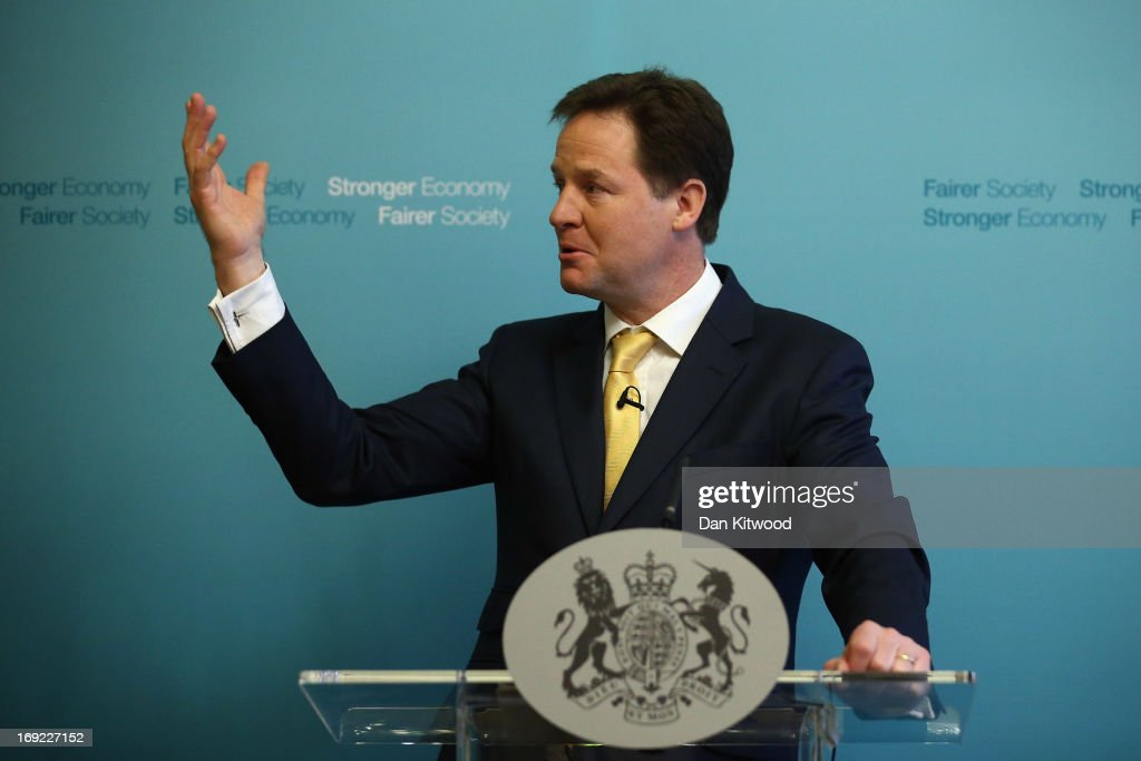 Deputy Prime Minister Nick Clegg speaks during a press conference at Admiralty House on May 22, 2013 in London, England. Mr Clegg spoke to members of the media about his Liberal Democrat party and the coalition with the Conservative party ahead of the next general election in 2015.