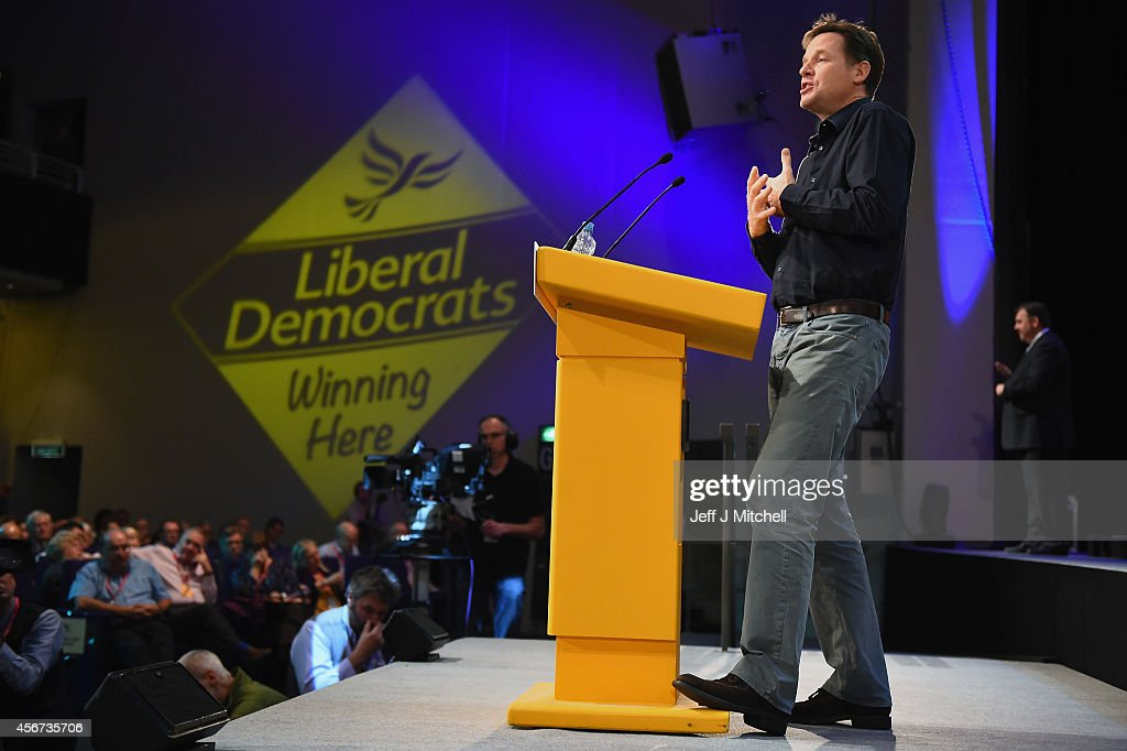 Deputy Prime Minister Nick Clegg speaks during a question and answer session at the Liberal Democrat Autumn conference on October 6, 2014 in Glasgow, Scotland. The leader of the Liberal Democrats, Nick Clegg, reaffirmed his commitment to more devolution for Scotland to delegates during the Q&A.