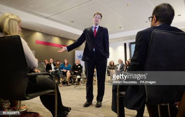 Deputy Prime Minister Nick Clegg speaks to mothers fathers and grandparents with Mumsnet and Gransnet at PwC in London where he discussed employees...