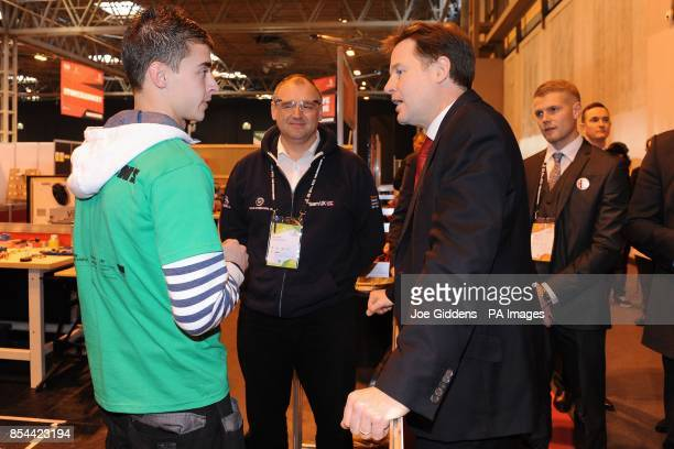 Deputy Prime Minister Nick Clegg talks to an apprentice from Coriolis International during The Skills Show at the NEC Birmingham