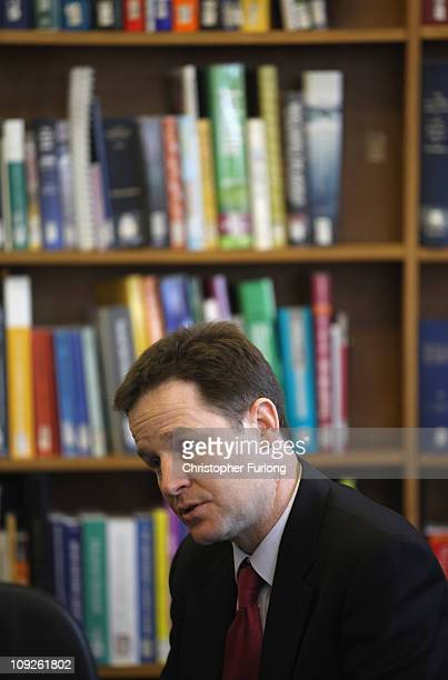 Deputy Prime Minister Nick Clegg talks to the media during a visit to Stockport Central Library on February 18 2011 in Stockport England Earlier in...