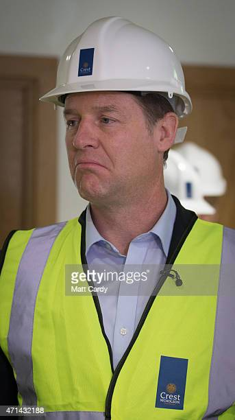 Deputy Prime Minister Nick Clegg wears a hard hat inside the Crest Nicholson energy centre for the new Bath Riverside Crest Nicholson development as...