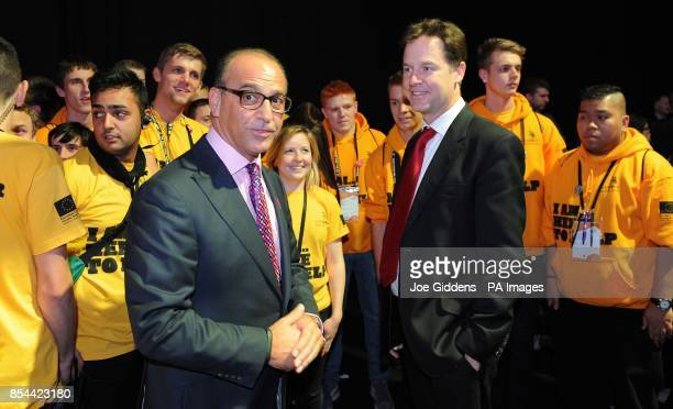 Deputy Prime Minister Nick Clegg with Theo Paphitis during The Skills Show at the NEC Birmingham Clegg took questions from more than 100 apprentices