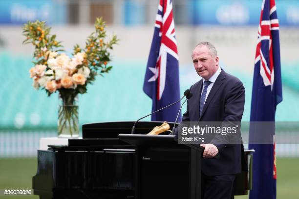 Deputy Prime Minister of Australia Barnaby Joyce speaks during a State Memorial service for Betty Cuthbert at Sydney Cricket Ground on August 21,...