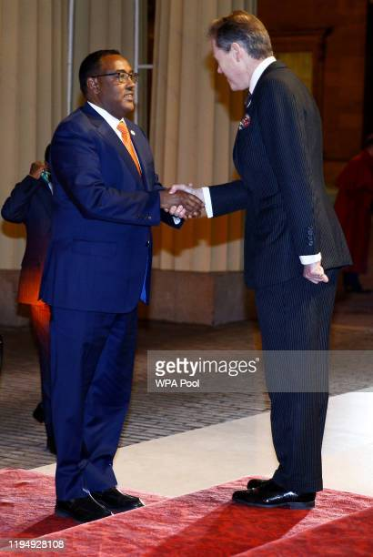 Deputy Prime Minister of Ethiopia Demeke Mekonne arrives as Prince William, Duke of Cambridge and Catherine, Duchess of Cambridge host a reception to...