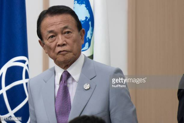 Deputy Prime Minister of Japan and Minister of Finance Taro Aso attends Prime Minister Shinzo Abe's press conference after the conclusion of a...