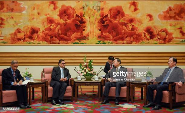 Deputy Prime Minister Of Nepal Krishna Bahadur Mahara attends a meeting with Chinese State Councilor Yang Jiechi at Zhongnanhai Leadership Compound...