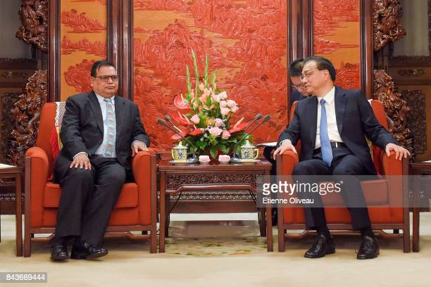 Deputy Prime Minister of Nepal Krishna Bahadur Mahara attends a meeting with Chinese Premier Li Keqiang at Zhongnanhai Leadership Compound on...