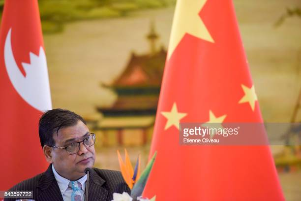 Deputy Prime Minister Of Nepal Krishna Bahadur Mahara speaks during a press conference following his meeting with Chinese Foreign Minister Wang Yi at...