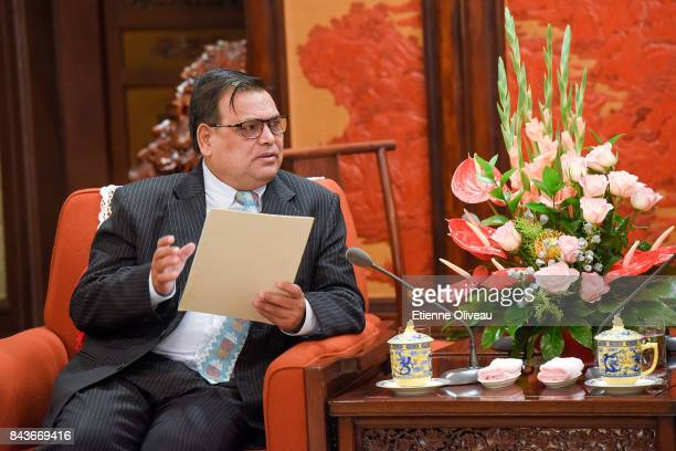 Deputy Prime Minister of Nepal Krishna Bahadur Mahara speaks during his meeting with Chinese Premier Li Keqiang at Zhongnanhai Leadership Compound on...