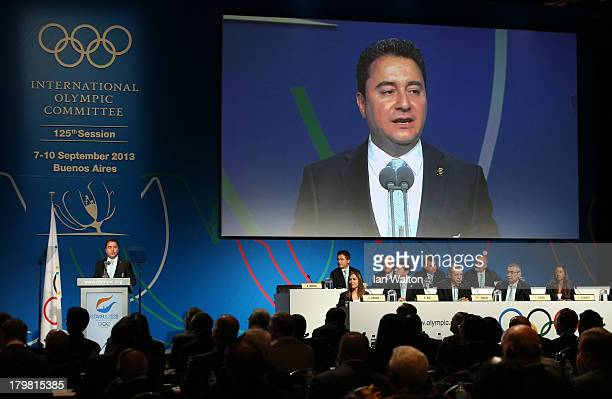 Deputy Prime Minister of Turkey Ali Babacan speaks during the Istanbul 2020 bid presentation during the 125th IOC Session 2020 Olympics Host City...