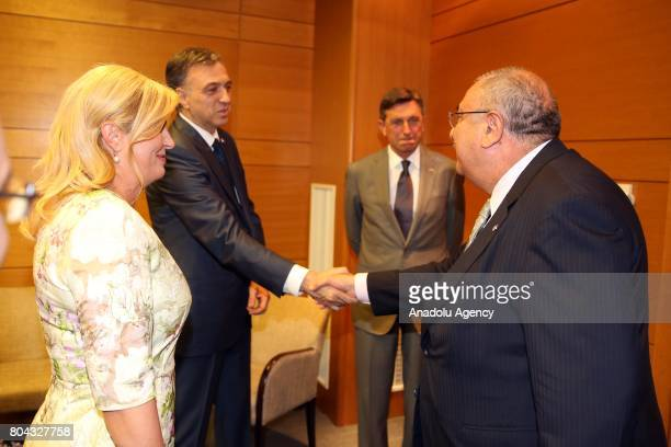 Deputy Prime Minister of Turkey Tugrul Turkes meets with President of Croatia Kolinda GrabarKitarovic and President of Montenegro Filip Vujanovic and...