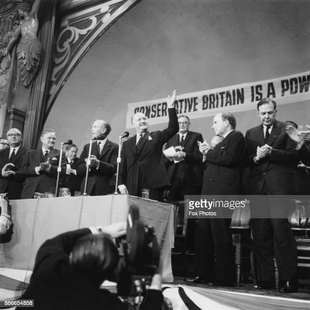 Deputy Prime Minister Rab Butler acknowledges the applause of the audience after his closing speech at the Conservative Party Conference in Blackpool...