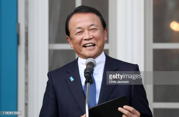 Deputy Prime Minister Taro Aso makes a speech during a reception to celebrate UK - Japan partnerships attended by Prince Charles, Prince of Wales and...