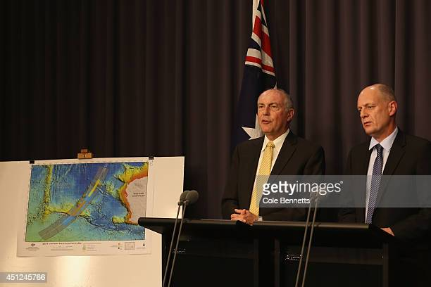 Deputy Prime Minister Warren Truss addresses announcing a new search zone for missing Airlines Flight MH370 on June 26 2014 in Canberra Australia In...