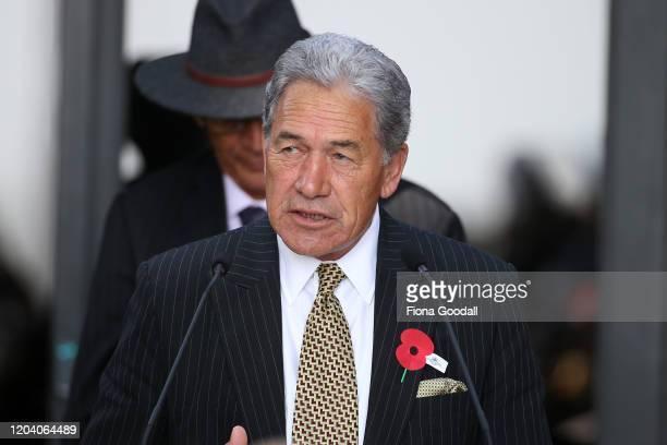 Deputy Prime Minister Winsrton Peters speaks at Te Rau Aroha on February 05 2020 in Waitangi New Zealand The $146 million Maori Battalion Museum aims...