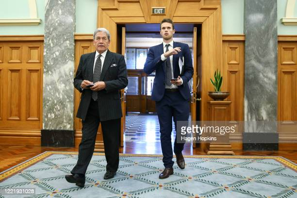 Deputy Prime Minister Winston Peters arrives to speak with media on his way to the House at Parliament on April 30, 2020 in Wellington, New Zealand....