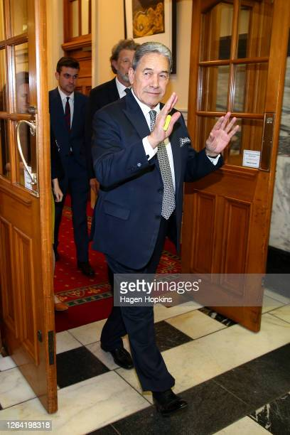 Deputy Prime Minister Winston Peters makes his way to question time at Parliament on August 06, 2020 in Wellington, New Zealand. Parliament will be...