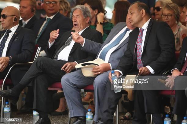 Deputy Prime Minister Winston Peters Regional Economic Development minister Shane Jones and Tau Henare listen to speeches on the upper Treaty grounds...