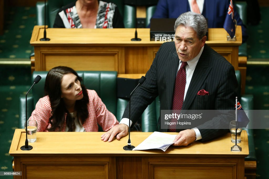 Deputy Prime Minister Winston Peters speaks as Prime Minister Jacinda Ardern looks on during the 2018 budget presentation at Parliament on May 17, 2018 in Wellington, New Zealand. Grant Robertson delivered his first budget which sees a large investment in the health sector including cheaper doctor visits and investment in hospitals along with $1.6b dollars of new funding for the education sector over the next four years.