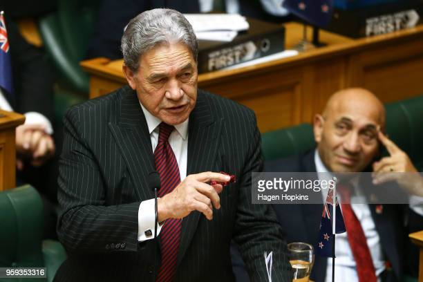 Deputy Prime Minister Winston Peters speaks during the 2018 budget presentation at Parliament on May 17 2018 in Wellington New Zealand Grant...