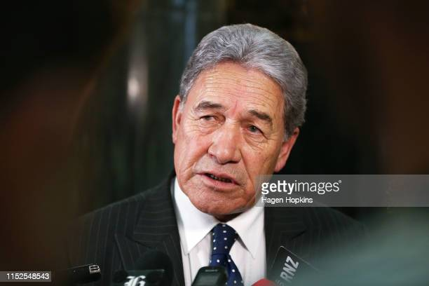 Deputy Prime Minister Winston Peters speaks to media during the 2019 budget presentation at Parliament on May 30, 2019 in Wellington, New Zealand....