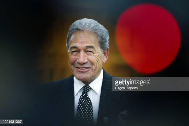 Deputy Prime Minister Winston Peters speaks to media on his way to the House at Parliament on April 30, 2020 in Wellington, New Zealand. New...
