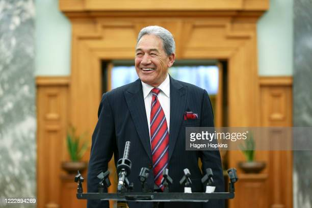Deputy Prime Minister Winston Peters speaks to media on his way to the House at Parliament on May 05, 2020 in Wellington, New Zealand. No new...
