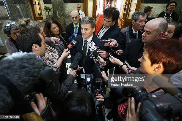 Deputy Prime Minister/Minister of Finance and Minister of Infrastructure of New Zealand Bill English speaks to the media at Parliament on August 8...