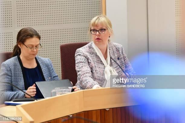 Deputy prosecutor EvaMarie Persson is pictured in the court room at the Uppsala Dictrict Court in Sweden during the detantion order hearing in the...