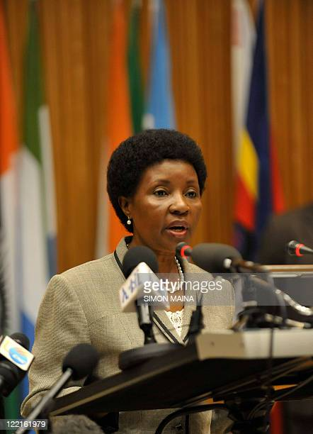 UN deputy secretary general Asha Rose Migiro addresses delegates and speaks about the Libyan crisis during the African Union Peace and Security...