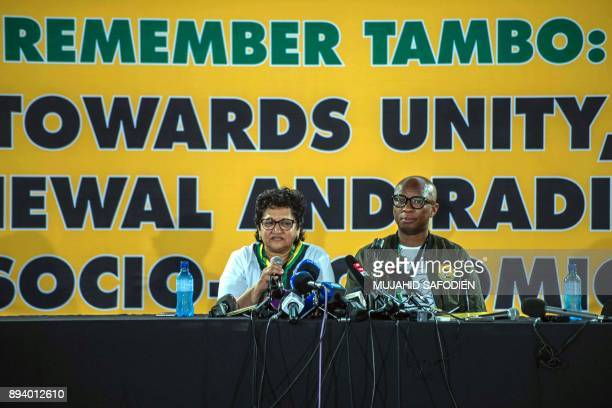 Deputy secretary general of the African National Congress Jesse Duarte and ANC spokesperson Zizi Kodwa speak to journalists on December 17 2017 in...