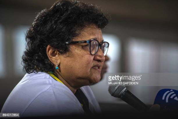 Deputy secretary general of the African National Congress Jesse Duarte speaks to journalists on December 17 2017 in Johannesburg during the 54th ANC...