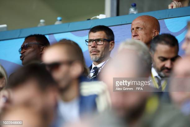 Deputy Secretary General Zvonimir Boban and Pierluigi Collina, Chairman of the FIFA Referees' Committee attend the FIFA U-20 Women's World Cup France...