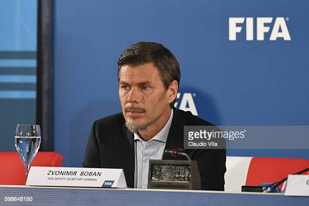 "Deputy secretary general Zvonimir Boban attends FIFA First ""offline"" VAR test press conference at Stadio San Nicola on September 2, 2016 in Bari,..."