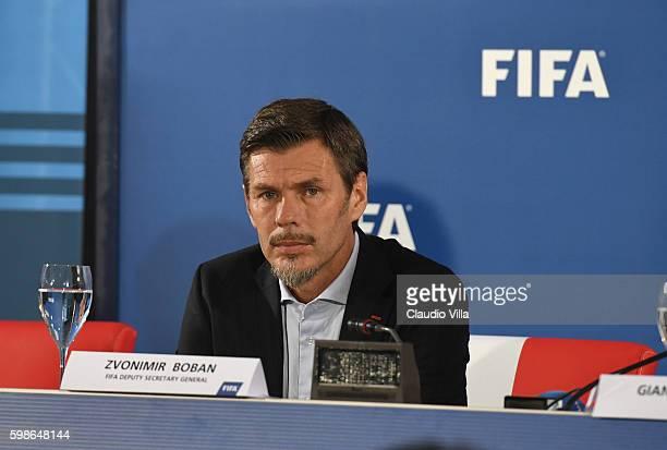 "Deputy secretary general Zvonmir Boban attends FIFA First ""offline"" VAR test press conference at Stadio San Nicola on September 2, 2016 in Bari,..."
