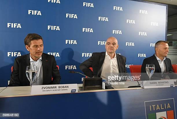 "Deputy secretary general Zvonmir Boban , FIFA President Gianni Infantino and FIFA Referee Bjorn Kuipers attend FIFA First ""offline"" VAR test press..."