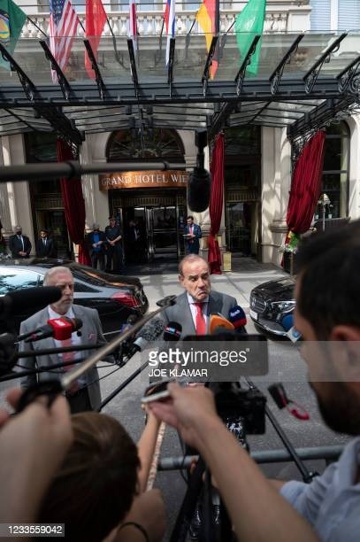 Deputy Secretary General/Political Director of the European External Action Service , Enrique Mora speaks to journalists outside the 'Grand Hotel...