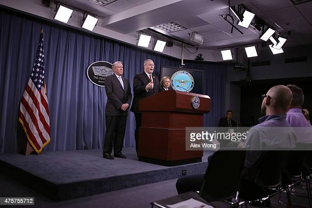 S Deputy Secretary of Defense Bob Work speaks as Under Secretary of Defense for Acquisition Technology and Logistics Frank Kendall and Director of...