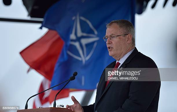 US Deputy Secretary of Defense Robert O Work gives a speech during the inauguration ceremony of the Aegis Ashore Romania facility at the Deveselu...