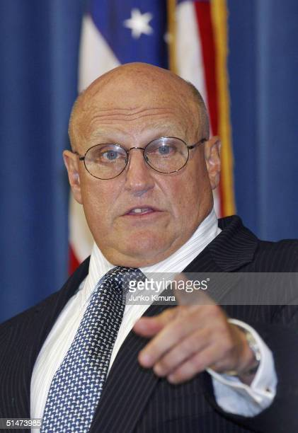 Deputy Secretary of State Richard L Armitage speaks at a press conference held at the US Embassy on October 13 2004 in Tokyo Japan Armitage is in...